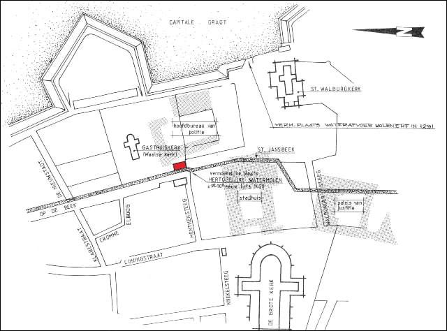 Arnhem-Hertogelijke Molen uit de 13e eeuw-plattegrond