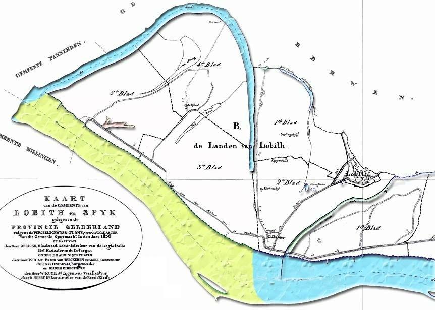 Bijlands Kanaal bewerkte Kadasterkaart van 1830